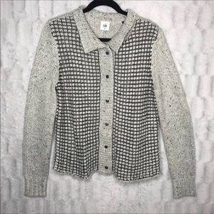 Cabi Gray Knit Snap Button Down Cardigan Sweater